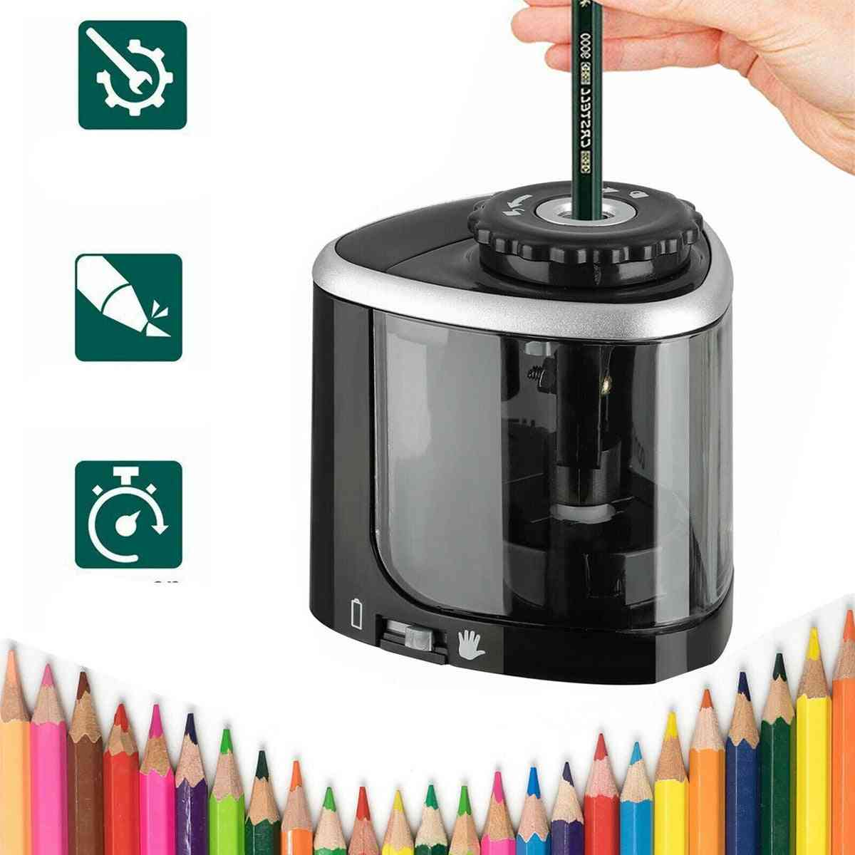 1pcs -electric Auto Pencil Sharpener, Safe Student Helical Steel Blade Sharpener For Artists Kids Adults Colored Pencils