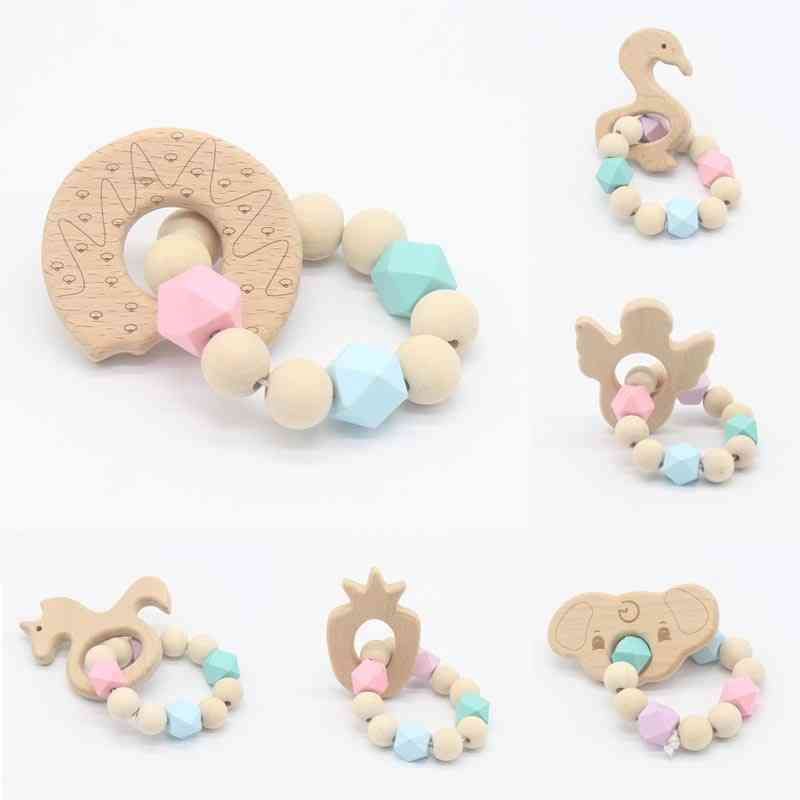 Safe Beech Wood, Different Patterns Baby Teether-bracelet
