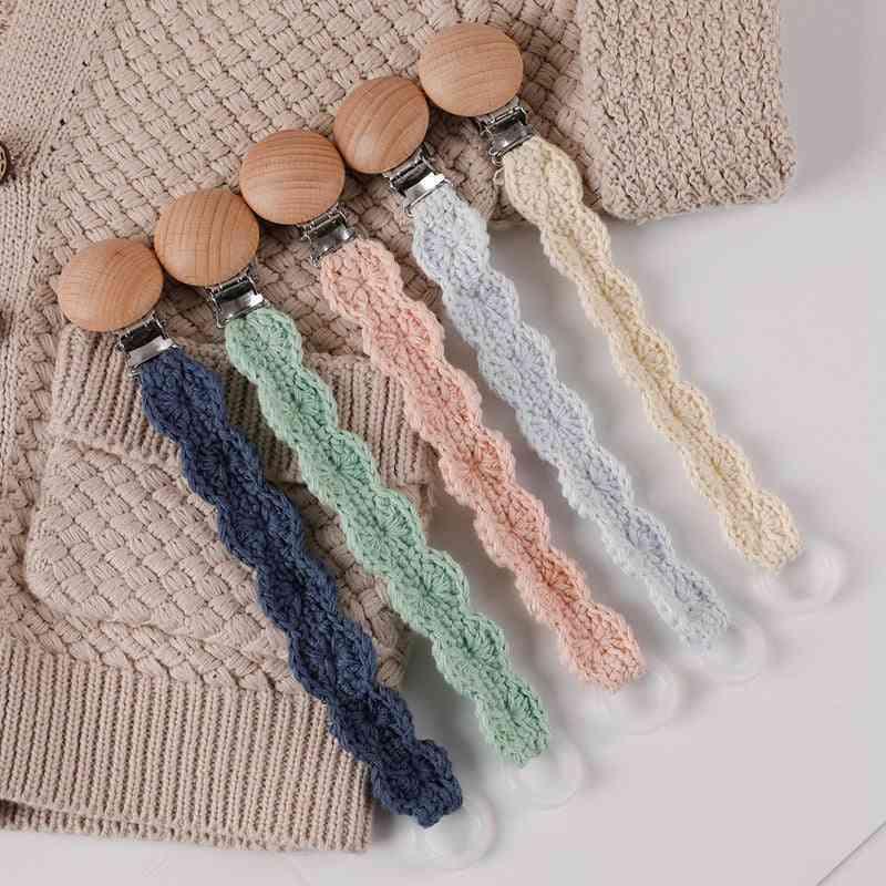 Pacifier Clips Wooden, Cotton Crochet - Newborn Teething Chew Dummy Chain