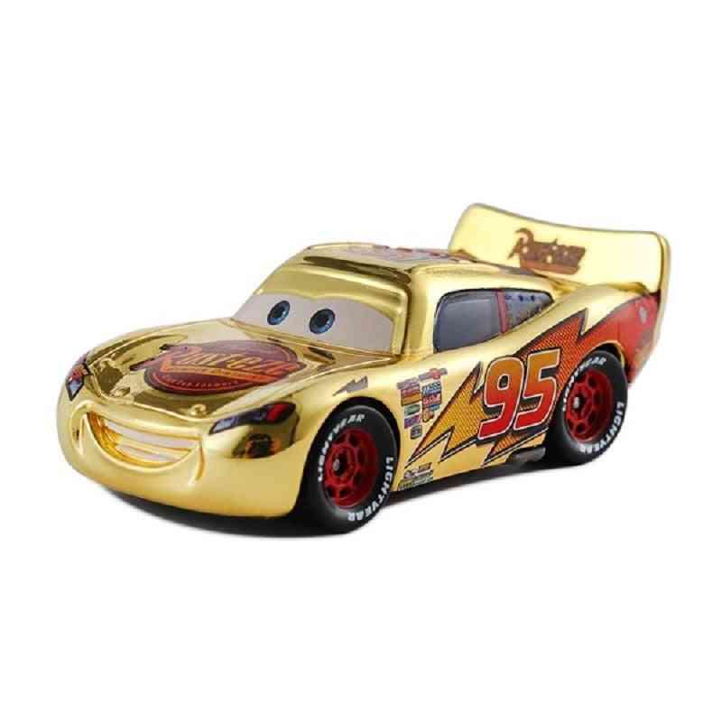 3 Disney Pixar Cars Metallic Finish Gold Chrome Mcqueen Metal Diecast Toy Car For's