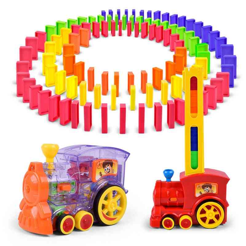 Electric And Automatic Train-dominoes Toy Set With Light/sound