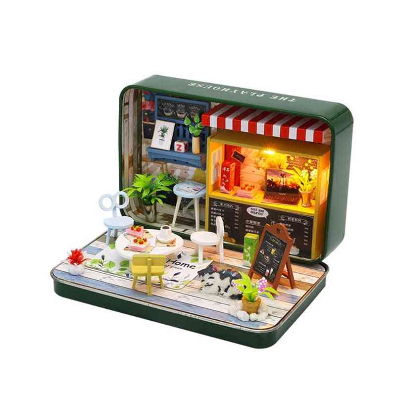 Dollhouse Miniature Kit With Wooden Furniture, Led Light For