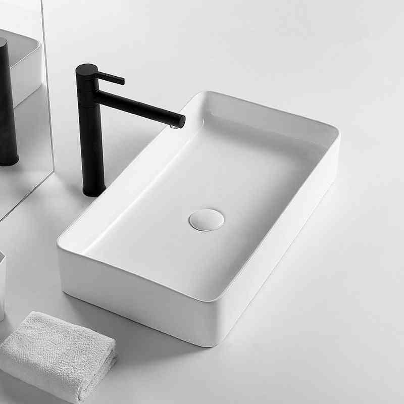 White Square Bathroom Sink Ceramic Wash Basin, Countertop Sinks Drainer