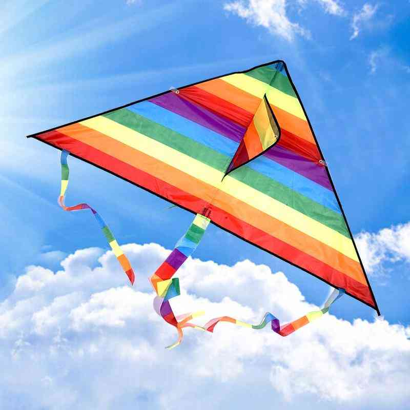 Colorful Rainbow Kite With Long Tail For
