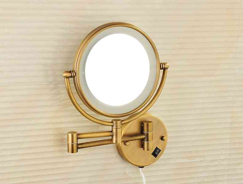 Led Lighted Swivel Arm, Antique Bronze And Solid Brass Magnify Makeup Mirror