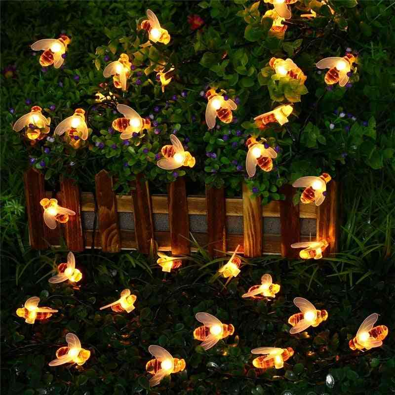 Solar Powered Cute Honey Bee, Led Fairy Light For Outdoor Garden Decoration