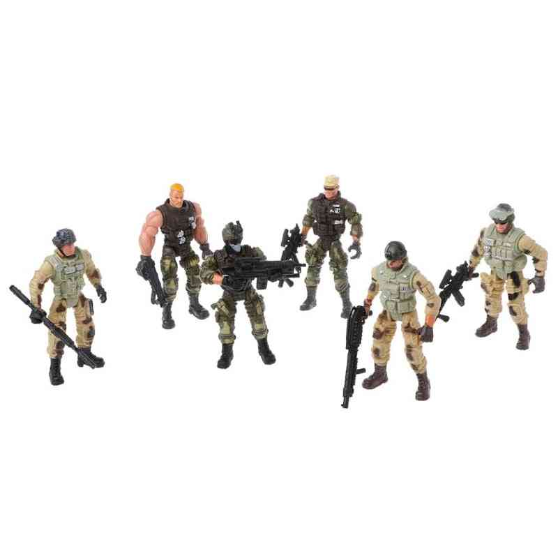 Set Of Army Soldiers With Weapon-action Figure Toy