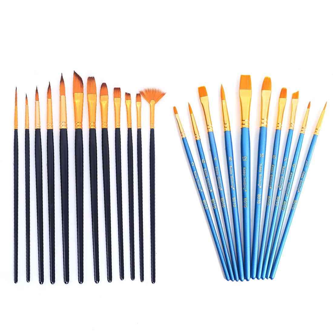 Nylon Hair Paint Brushes Set For Gouache / Acrylic / Oil Model