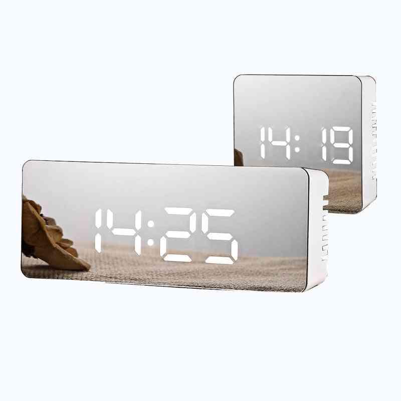 Mirror Like Digital Led Alarm Clock-electronic Time And Temprature Display
