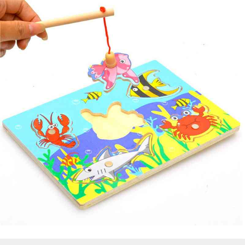 Wooden Magnetic, 3d Puzzle Fishing Toy For Children