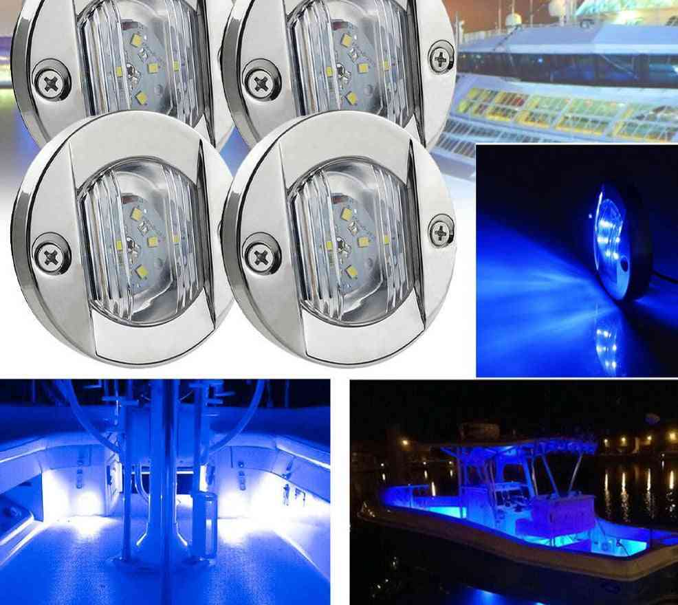 Dc Marine Boat Transom Led Stern Light - Round Stainless Steel Warm Tail Lamp