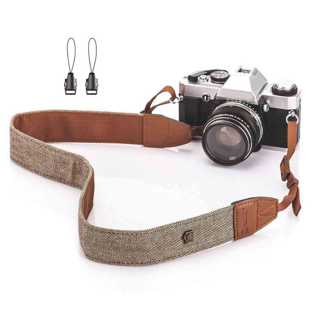 Foleto Universal Adjustable Camera Shoulder Neck Strap Cotton Leather Belt