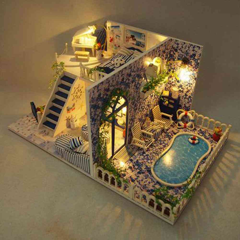 Diy Assembly Villa Cottage Santorini Cabin Vacation With Swim Pool