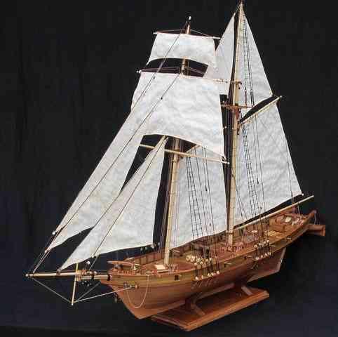 Classics Antique Harvey Battleship Wooden Sailboat Model