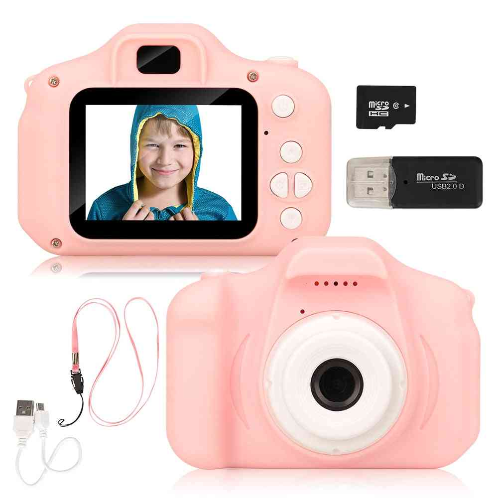 Children's Camera Rechargeable Pink Photo Video Playback 32 Gb Kids For Child Girl Birthday Present