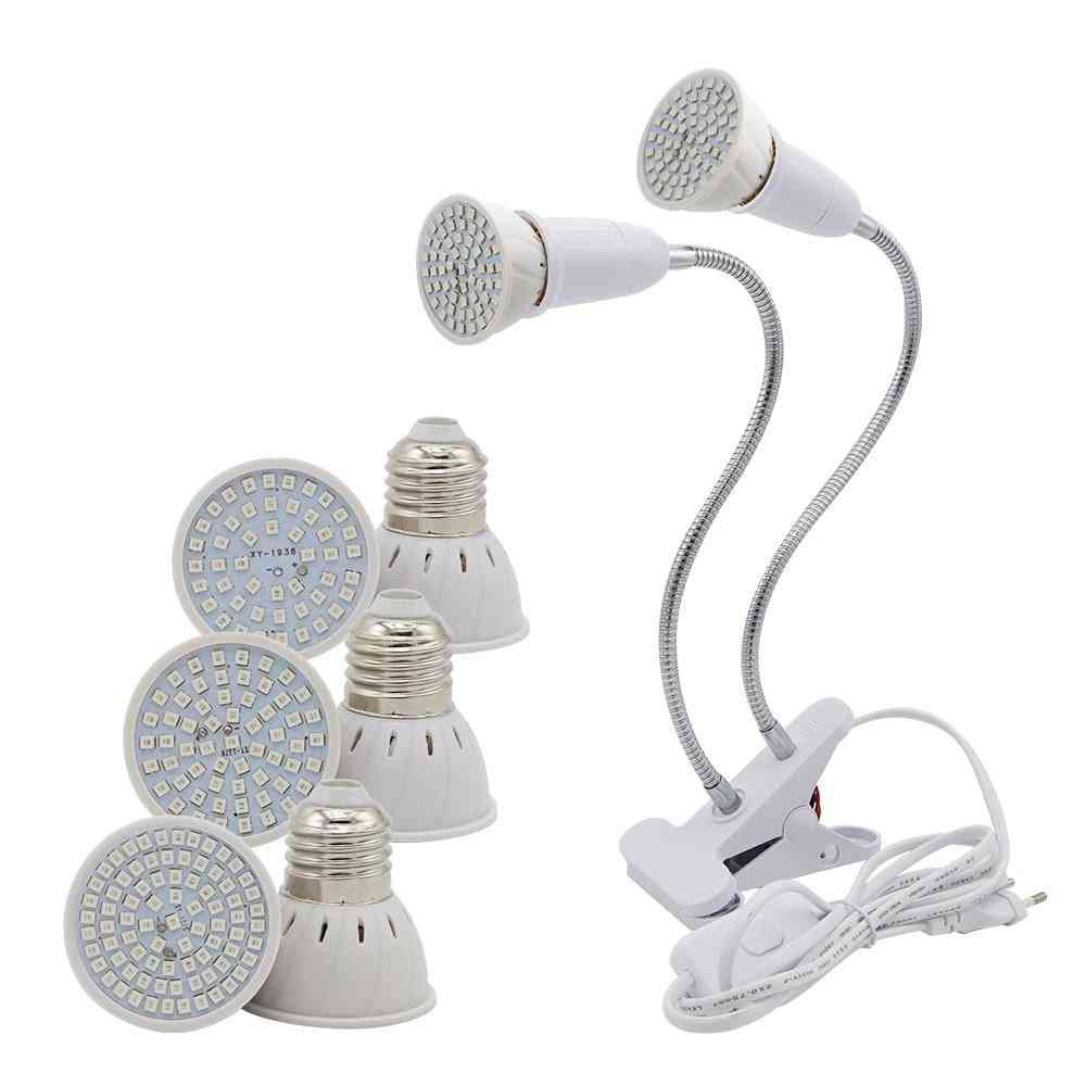 Full Spectrum, Hydroponic Growth Lights- Led Lamp Bulb, Flexible With Two Head Clip