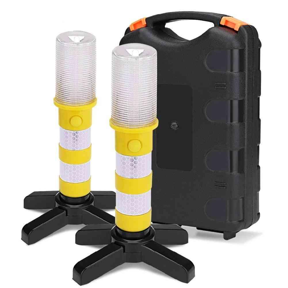 Led, Magnetic, Emergency Baton Flashlight - Road Security Flashing Strobe Lamp With Storage Case
