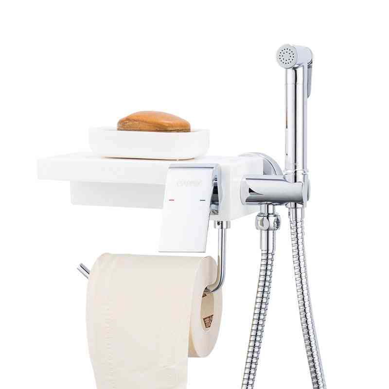 Toilet Bidet Shower Sprayer - Hygienic Shower, Bathroom Paper Holder Shelf