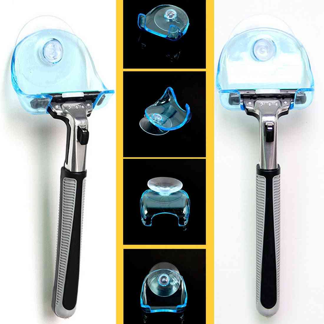 1pcs Clear Plastic Super Suction Cup Razor Rack For Bathroom