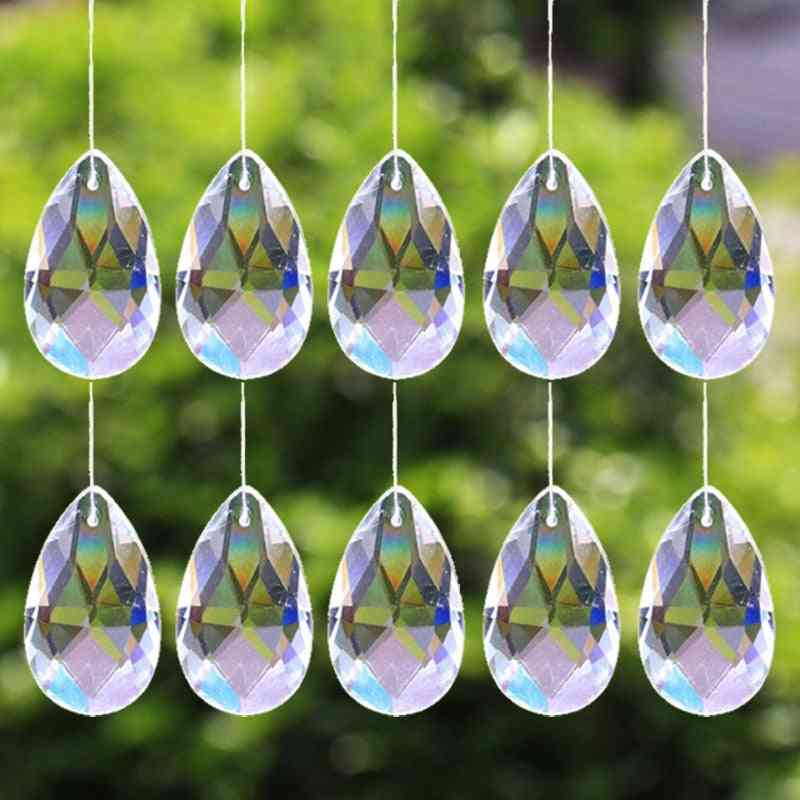 Tear Dropshaped, Clear Glass-crystal Prism Pendant