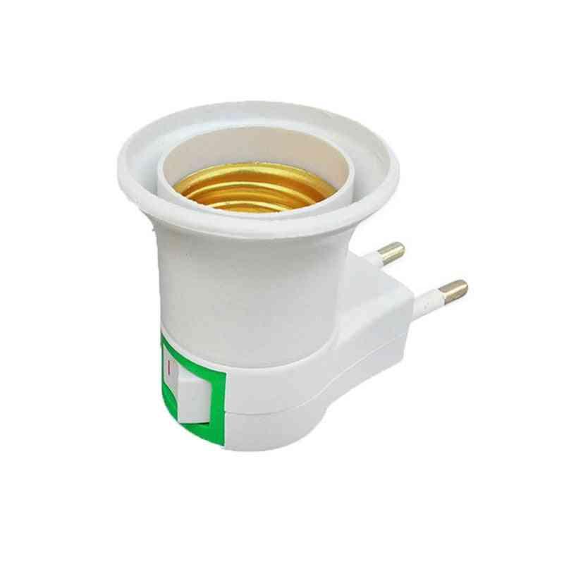 Practical E27 Led Light Socket To Eu Plug Holder Adapter Converter