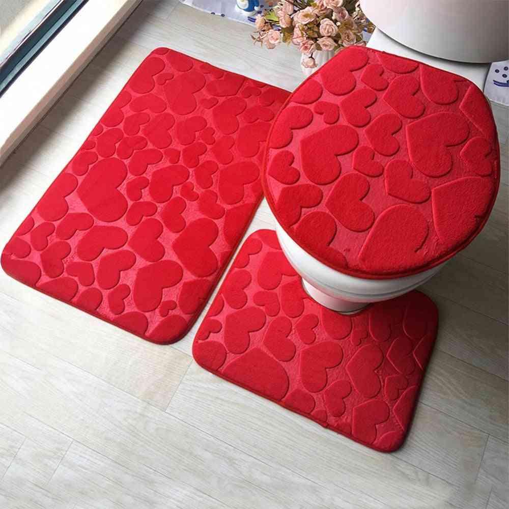 Anti-slip Bathroom Mat Set, Flannel Kitchen Bath Carpet, Toilet Rug