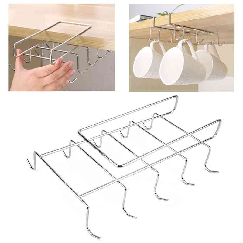 Stainless Steel, Kitchen Rack Hanging-tumbler Holder With 10 Hooks