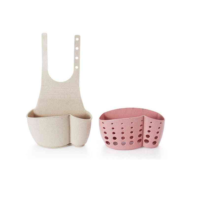 Kitchen Sponge Drain Rack Sink Sponge Holder Wheat Fiber Storage Basket- Bathroom Organizer Soap Shelf, Hanging Basket Wash