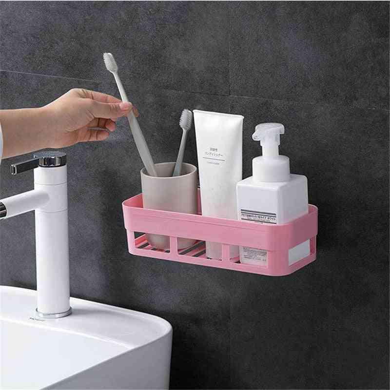 Bathroom Wall Corner Shelf , Rectangular Shape, Single Tier Storage Rack