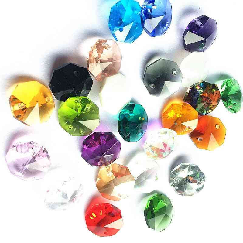 Crystal Chandelier Octagon Beads In 2 Holes -cut & Faceted Glass