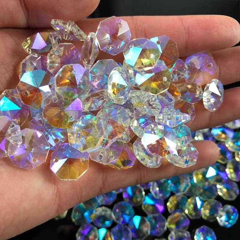 Crystal Ab Glass Lamp Prism Chandelier Chain Part - Octagon Bead Ornament