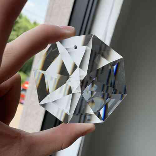 Suncatcher Octagon Disc Faceted Glass - Art Crystal Prism Chandelier Hole, Diy Pendant Hanging Ornament Lamp