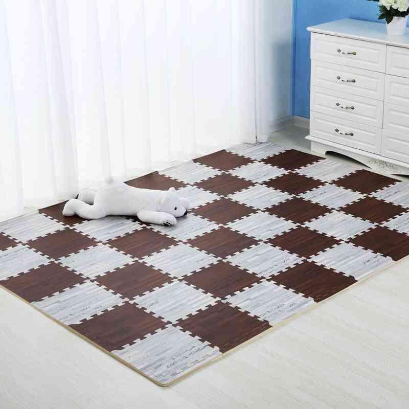 Wooden Puzzle Mat - Foam Soft Floor Interlocking Rug Living Room Gym Crawling Carpet