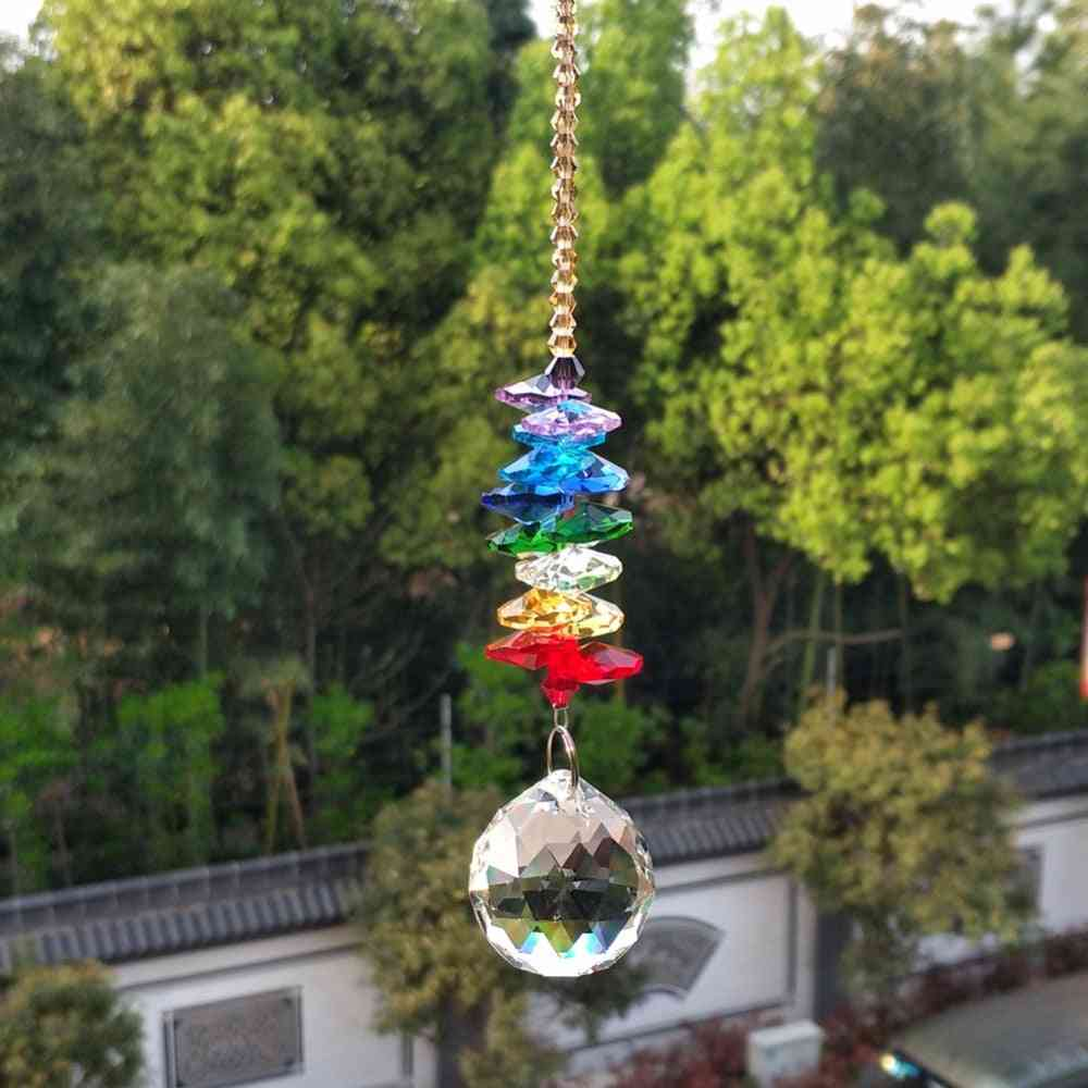 Handcrafted Rainbow Acrylic Beads Garland With Glass Crystal Ball