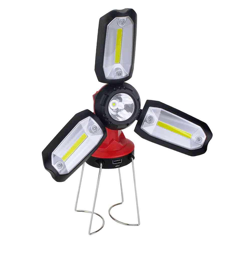 Fan Shaped, Foldable- 3 Cob Led Lamp With 6 Adjustable Modes And Micro Usb Charging