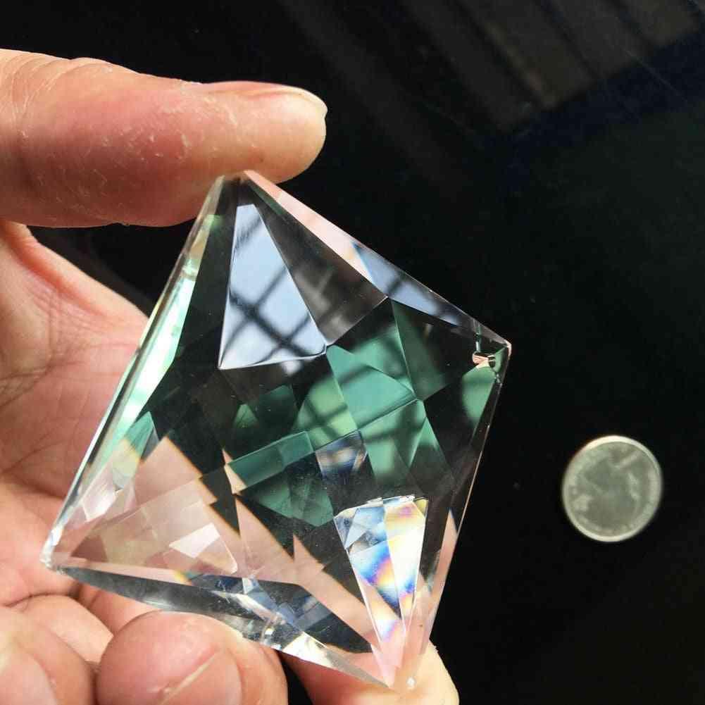 75mm Suncatcher Glass Art Faceted, Crystal Prism, Chandelier Square Pendant Ornament