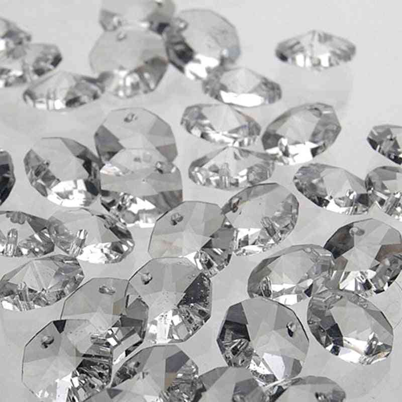 200pcs 14mm Clear Crystal Octagon Bead, K9 Crystal 2-holes, Diy Wedding & Home Decoration, Crystal Accessories Chandelier Parts