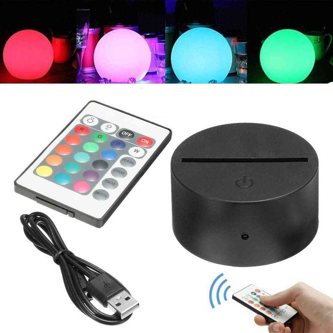 3d Led Night Light Lamp Base Stand With Power Adapter, Usb Cable & Remote Control