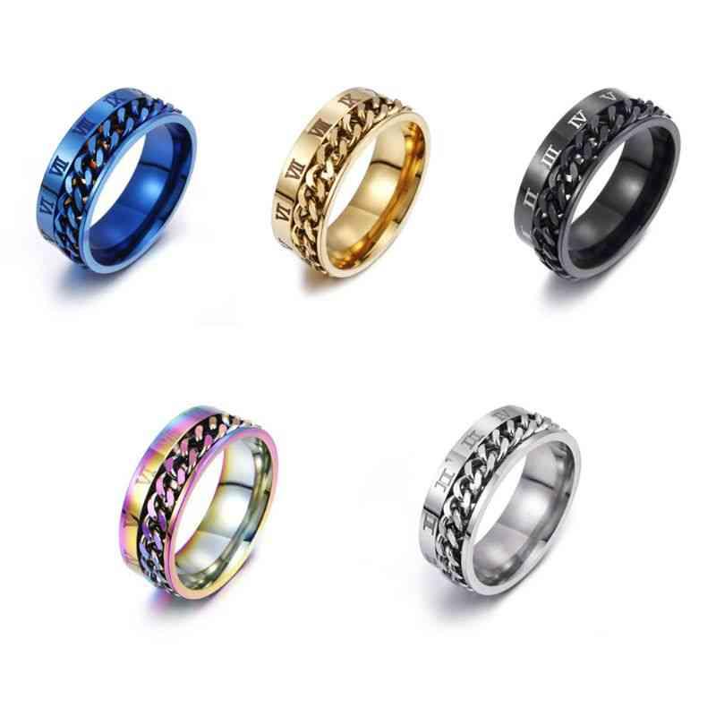 Edc Finger Fidget Spinner- Stainless Steel Chain Rotatable Ring