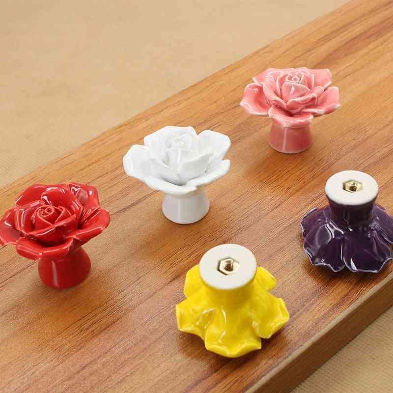 Hardware Flower Wardrobe Ceramic Pull Handle- Decorative Knobs