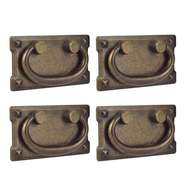 4pcs Vintage Antique Bronze Drawer Ring Pull Handles- Cabinet Door Furniture Handle Decoration (yellow)