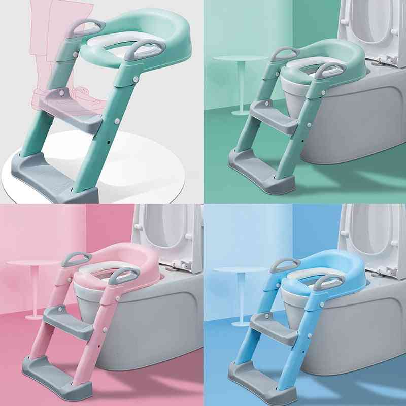 Potty Training Toilet Chair Seat With Step Ladder For Kids And Toddler-foldableand Wide