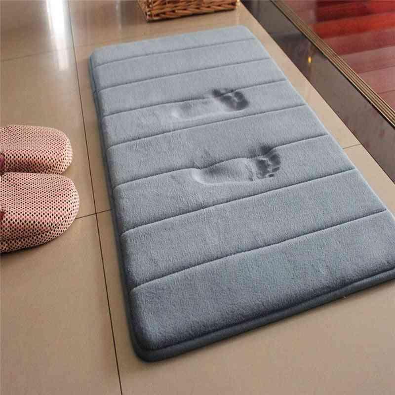 New 40x60cm Home Bath Mat, Non-slip Carpet, Soft Coral Fleece Memory Foam Rug