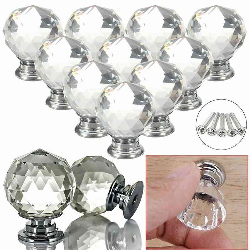 Diamond Shape Design Crystal Glass Knobs- And Cupboard Drawer