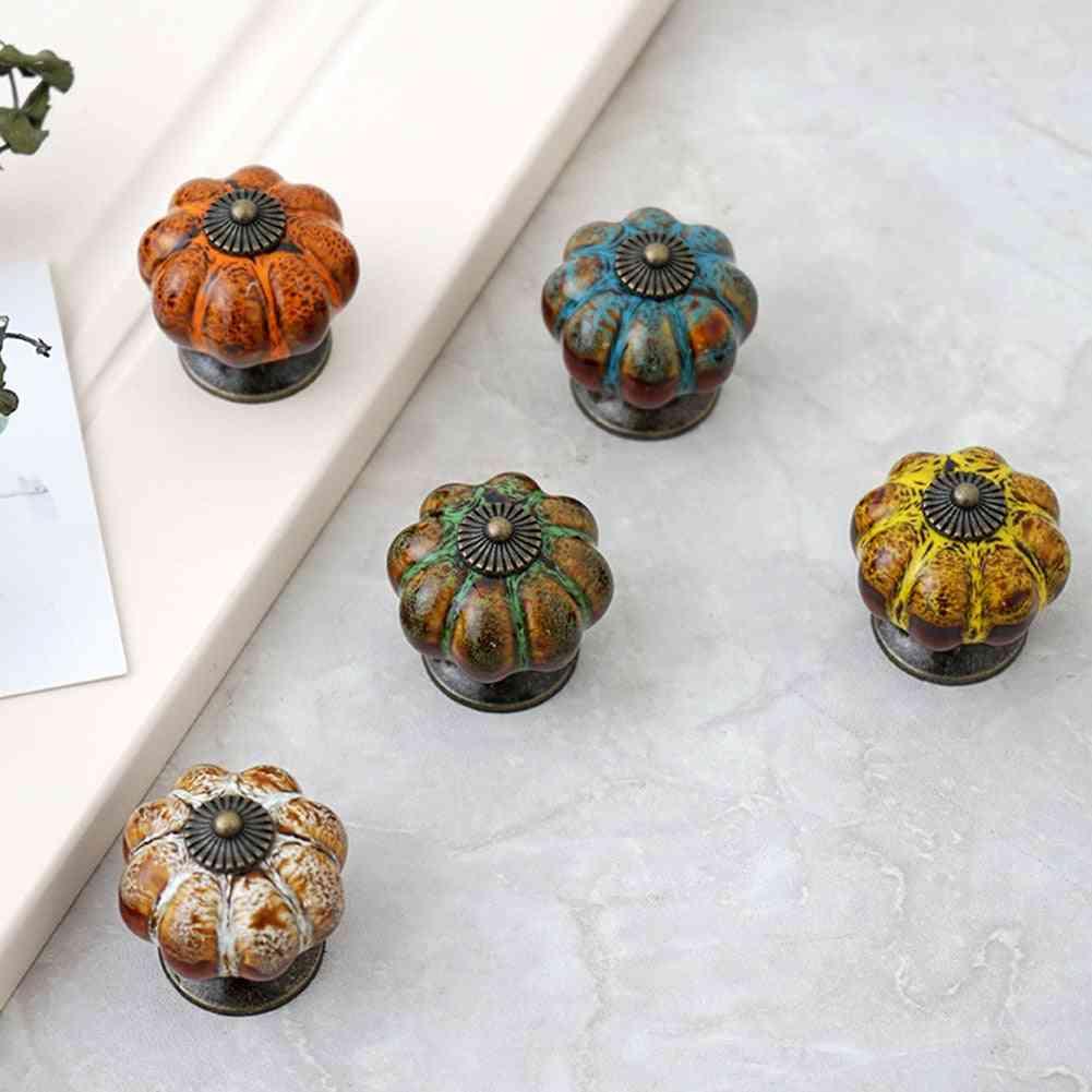 Retro Round Pumpkin Shape, Ceramic Drawer Cabinet Wardrobe