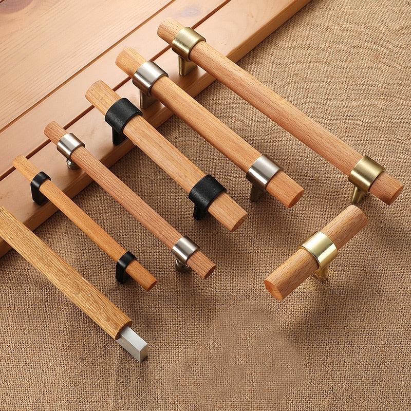 Bronze Incabinet Pulls & Modern Kitchen Door Knobs - Wood Handles