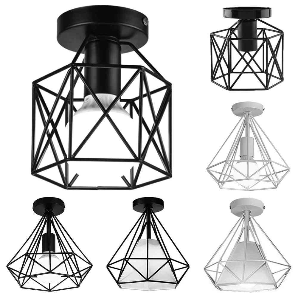 Vintage Iron Chandelier Cage Ceiling Light - E27 Led Lamp Fixture