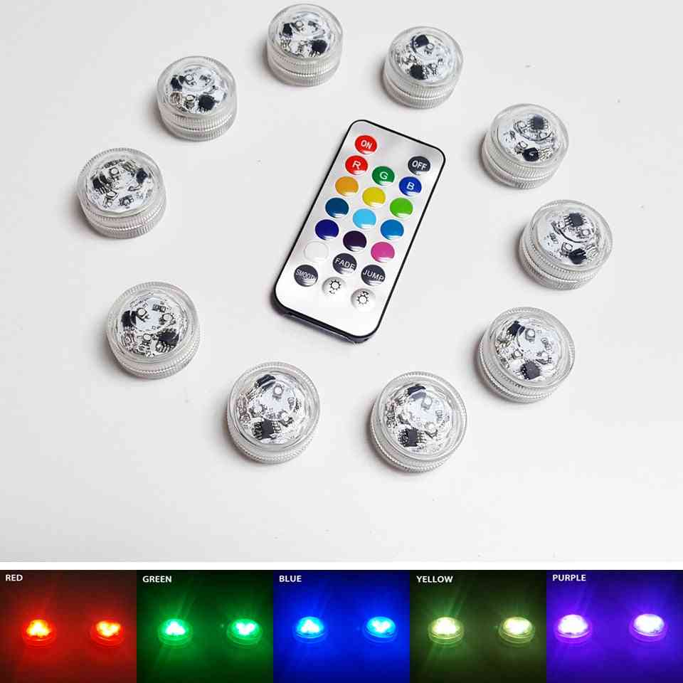 Remote Controlled Rgb Submersible Light - Battery Operated Underwater Night Lamp