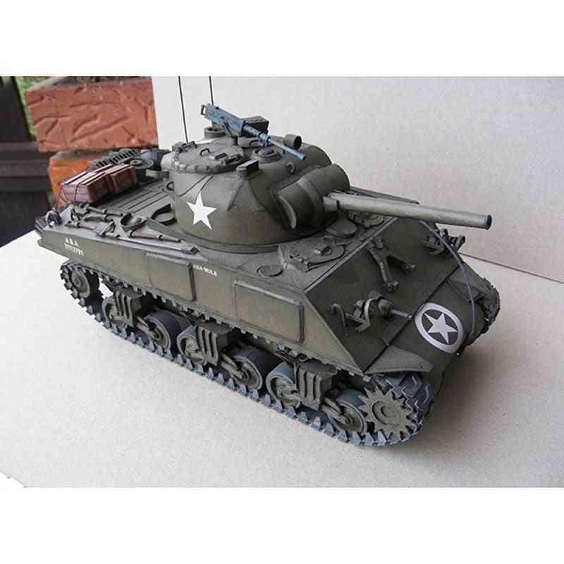 Sherman Medium Tank Diy -3d Paper Card Model Building Sets- Construction