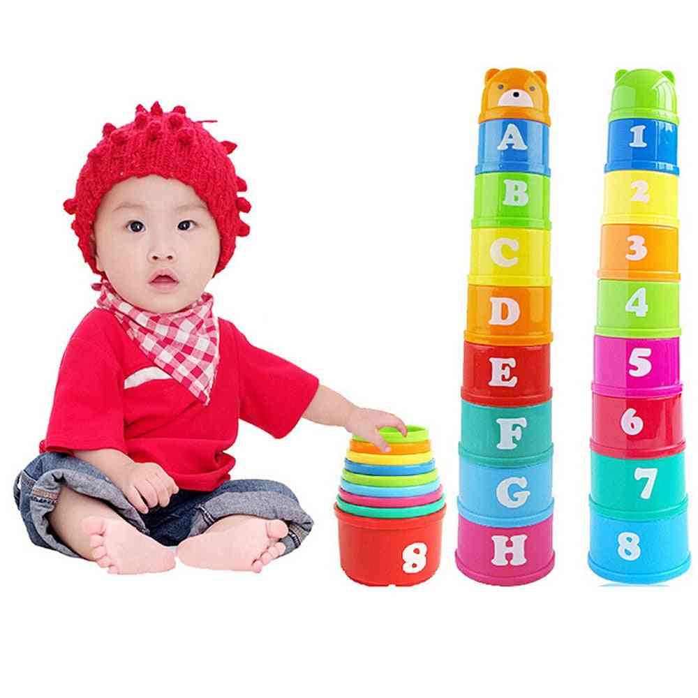 Mini Bear Stack Cup Set-educational Rainbow Color Tower & Piles Toy